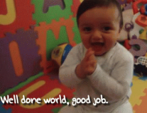 Babies react to new pledges for vaccines: in GIFs